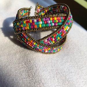 Multicolored beaded wrap bracelet